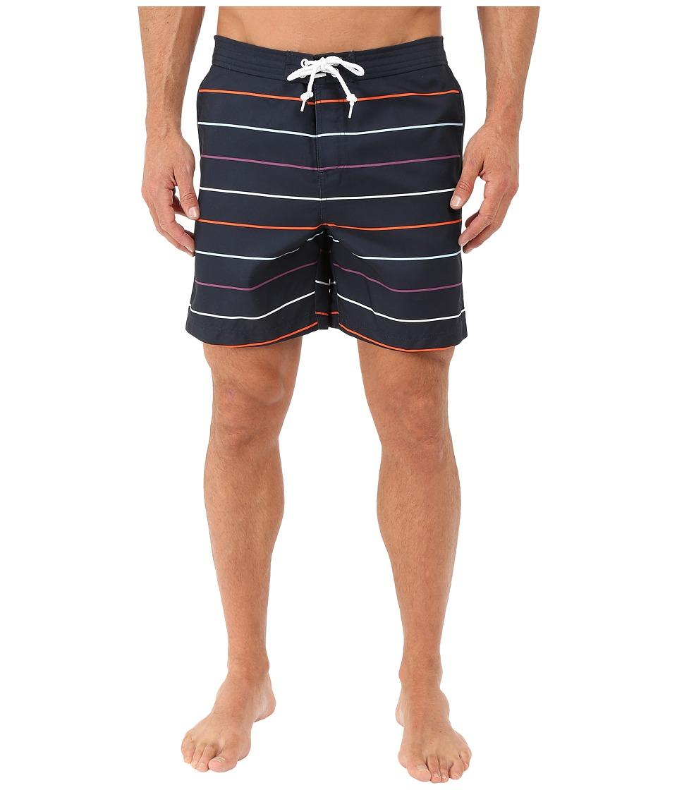 Original Penguin - Stripe Print Fixed Volley Fit (Dark Sapphire) Men's Swimwear