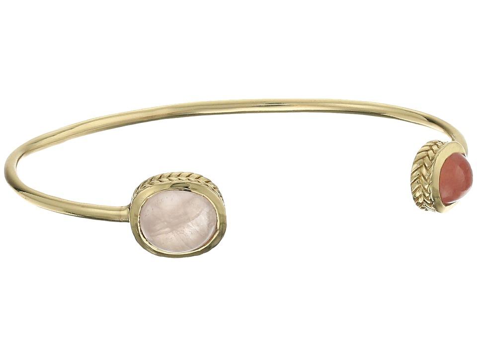 Cole Haan - 2 Stone Open C Cuff Bracelet (Gold/Rhodochrosite/Rose Quartz) Bracelet