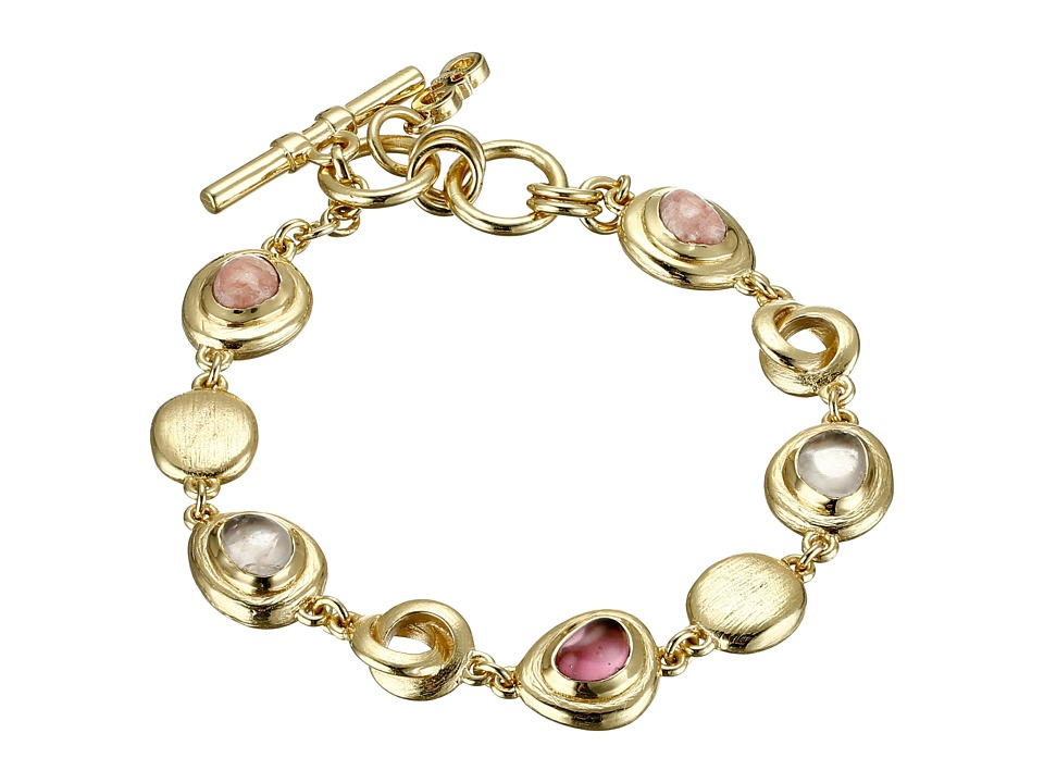 Cole Haan - Stone Line Bracelet (Gold/Rose Quartz/Rhodochrosite/Dark Pink) Bracelet