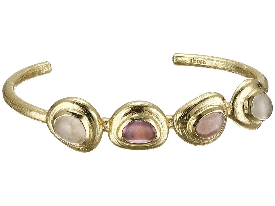 Cole Haan - 4 Stone Thin Cuff Bracelet (Gold/Rose Quartz/Rhodochrosite/Dark Pink) Bracelet