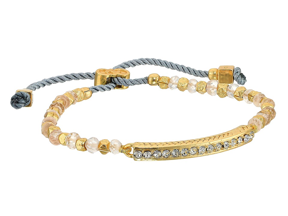 Cole Haan - Bar Beaded Pull Tie Bracelet (Gold/Crystal/Rose Quartz) Bracelet