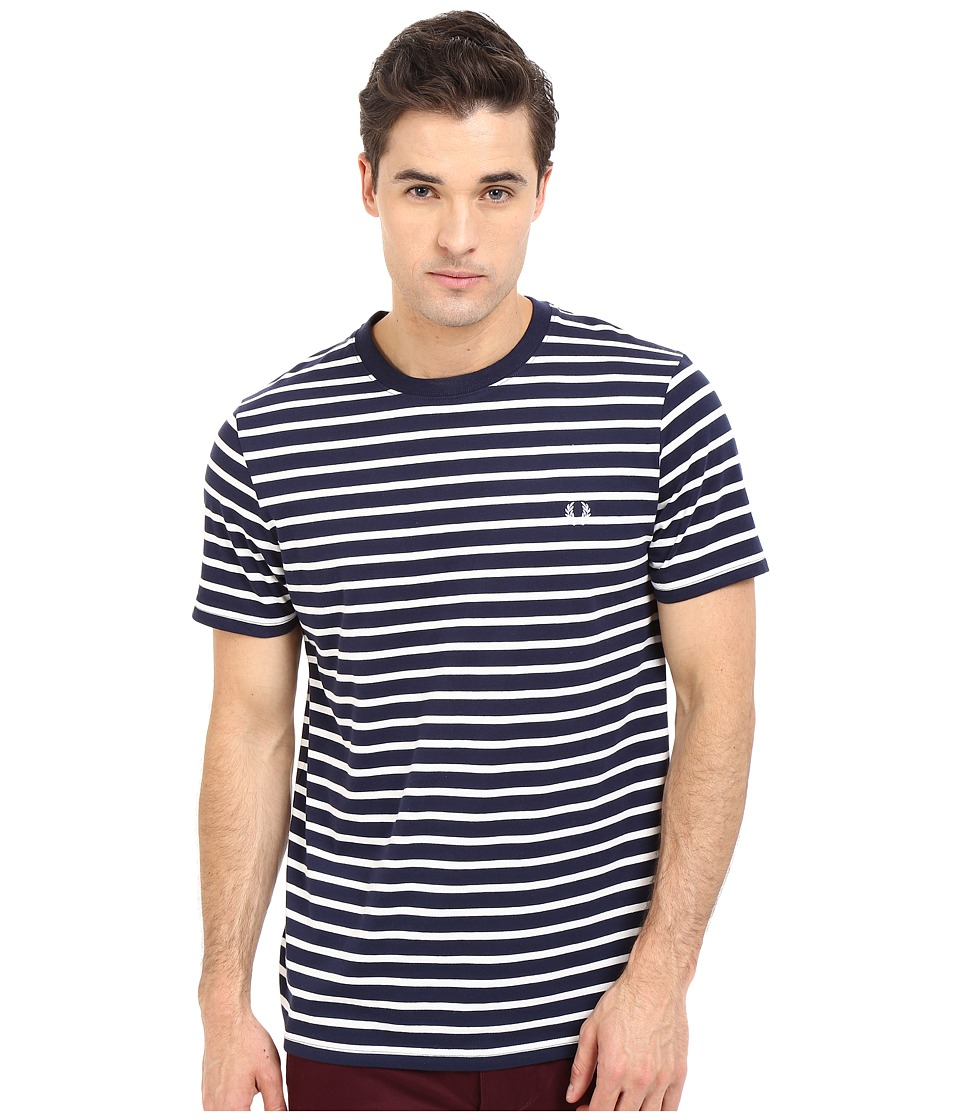 Fred Perry - Breton Stripe T-Shirt (Carbon Blue) Men's Short Sleeve Pullover