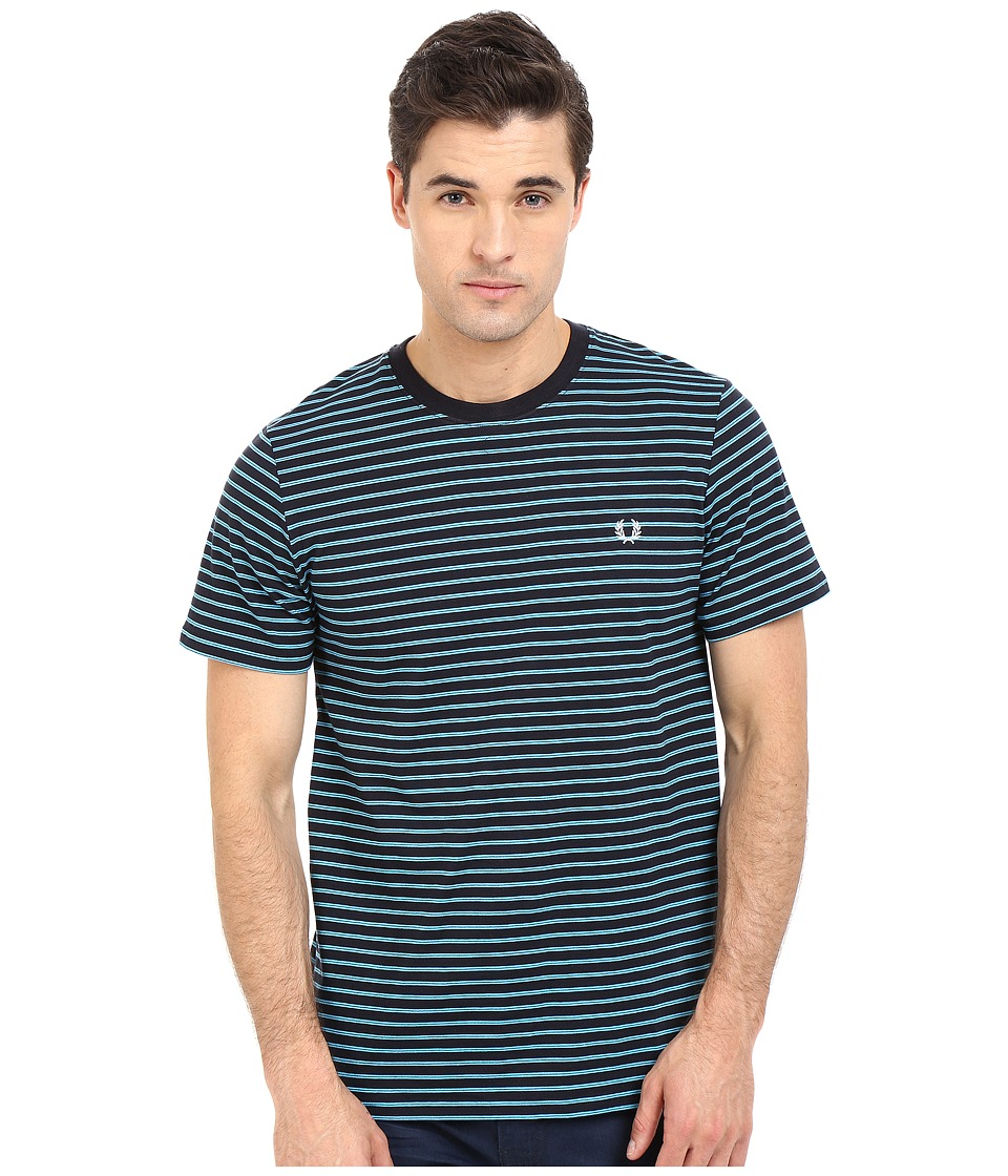 Fred Perry - Double Stripe T-Shirt (Navy) Men's Short Sleeve Pullover