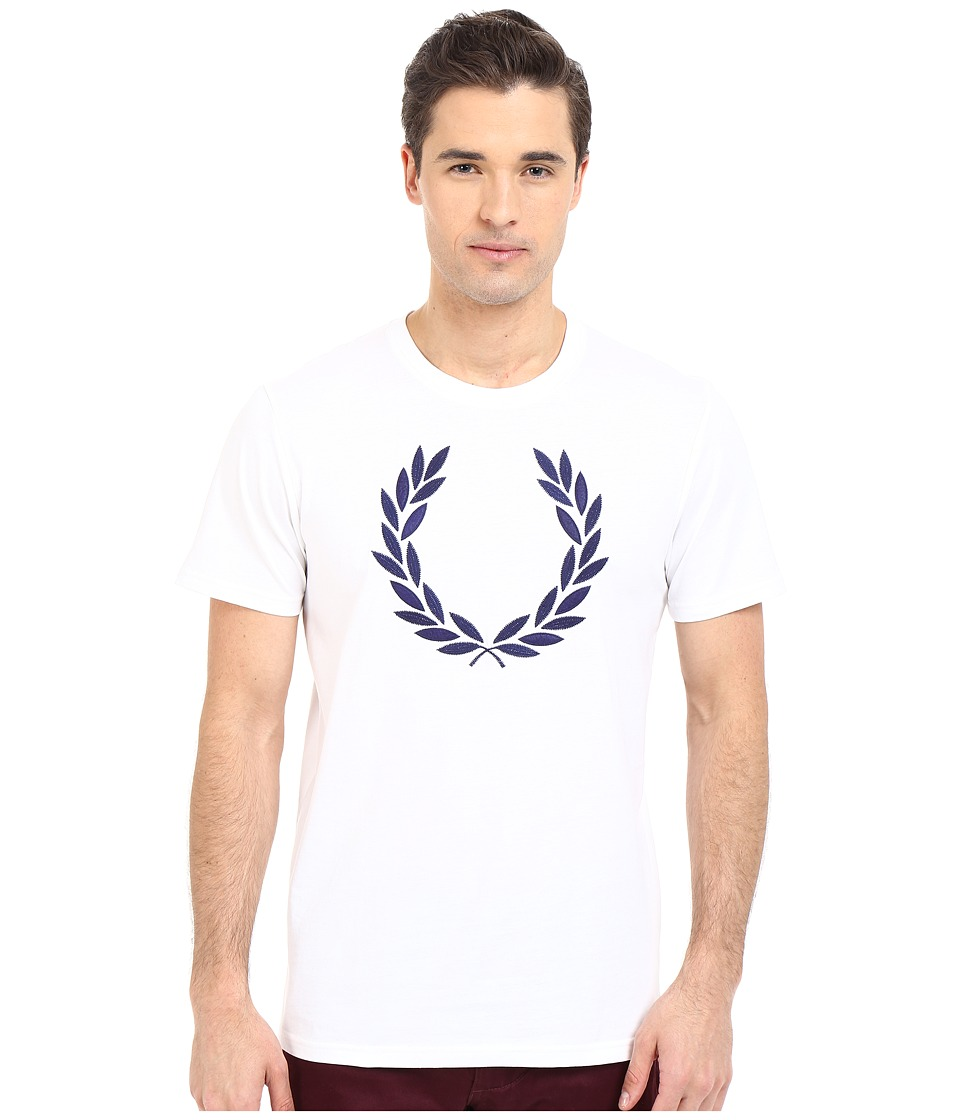 Fred Perry - Textured Laurel Wreath T-Shirt (White) Men's T Shirt