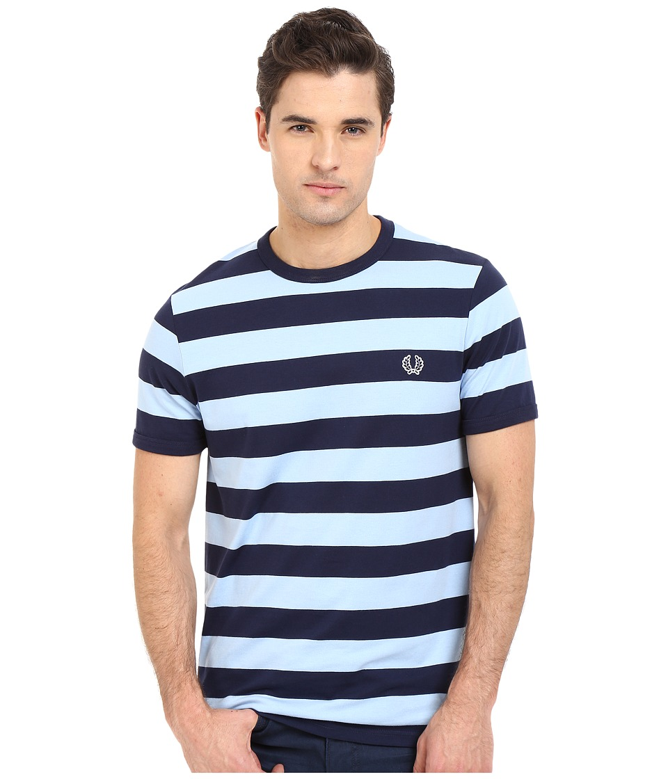 Fred Perry - Striped Sports T-Shirt (Carbon Blue) Men's Short Sleeve Pullover