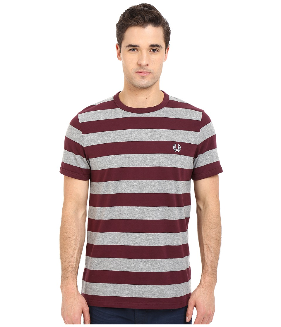 Fred Perry - Striped Sports T-Shirt (Mahogany) Men's Short Sleeve Pullover