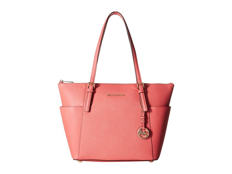 MICHAEL Michael Kors - Jet Set Saffiano Top Zip Tote (Pnkgrapfruit) Tote Handbags