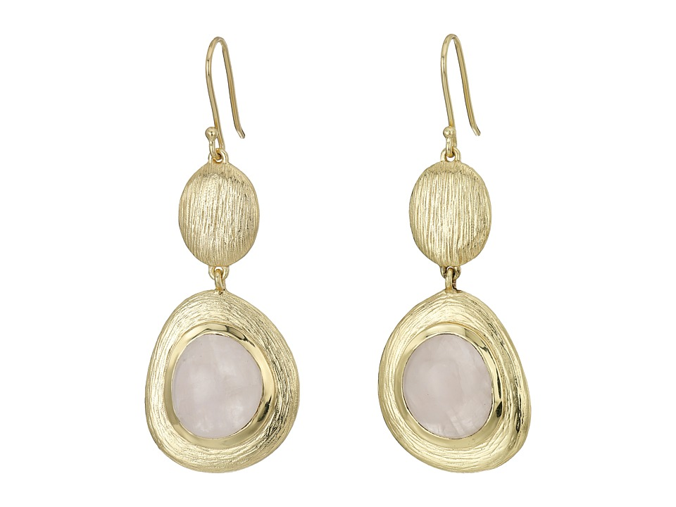 Cole Haan - Double Drop Drama Stone Earrings (Gold/Rose Quartz) Earring