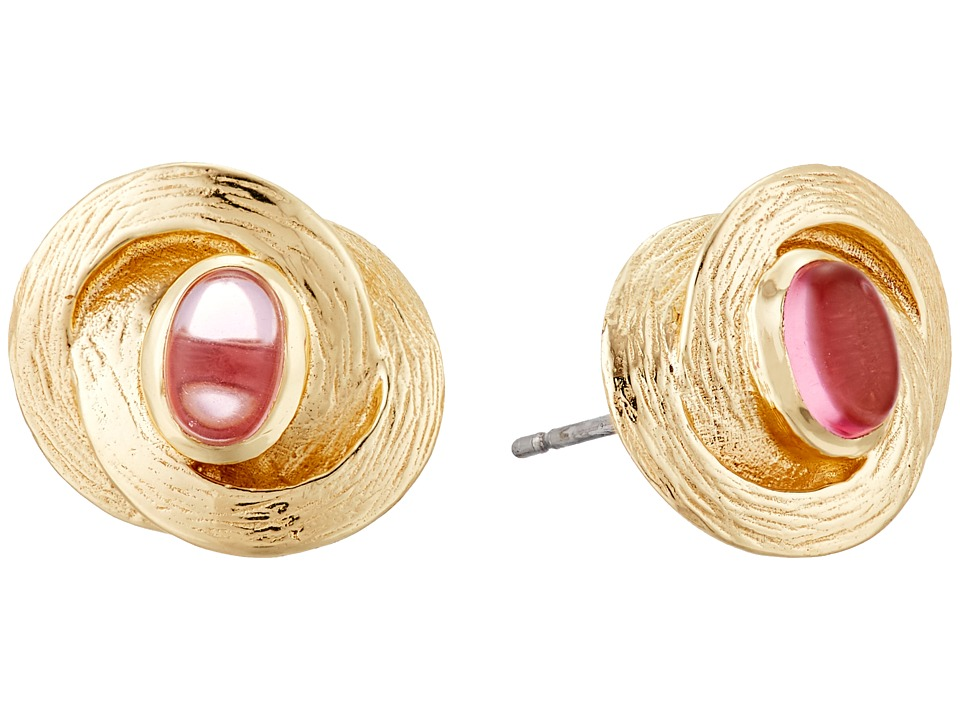 Cole Haan - Center Stone Knotted Stud Earrings (Gold/Dark Pink) Earring