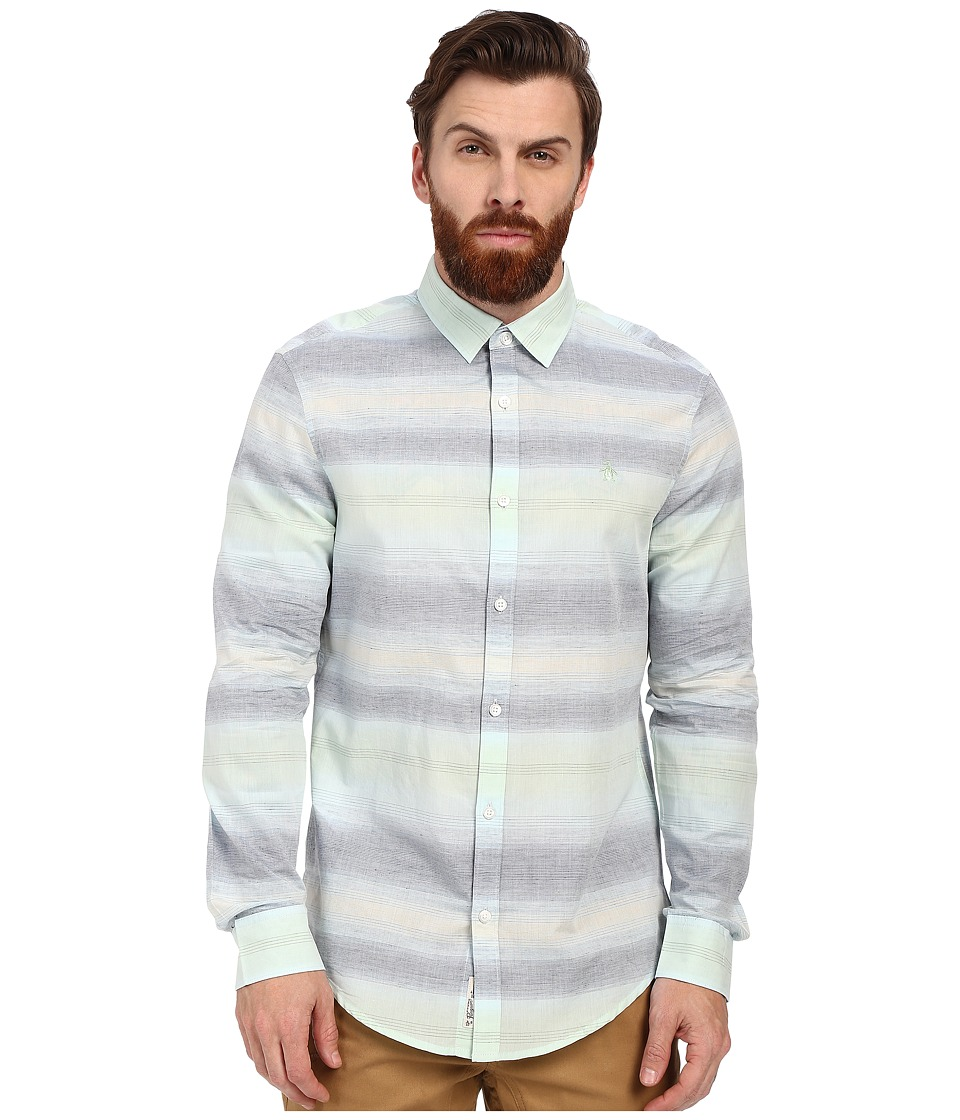 Original Penguin - Long Sleeve Gradient Horizontal Stripe (Crystal Blue) Men's Long Sleeve Button Up