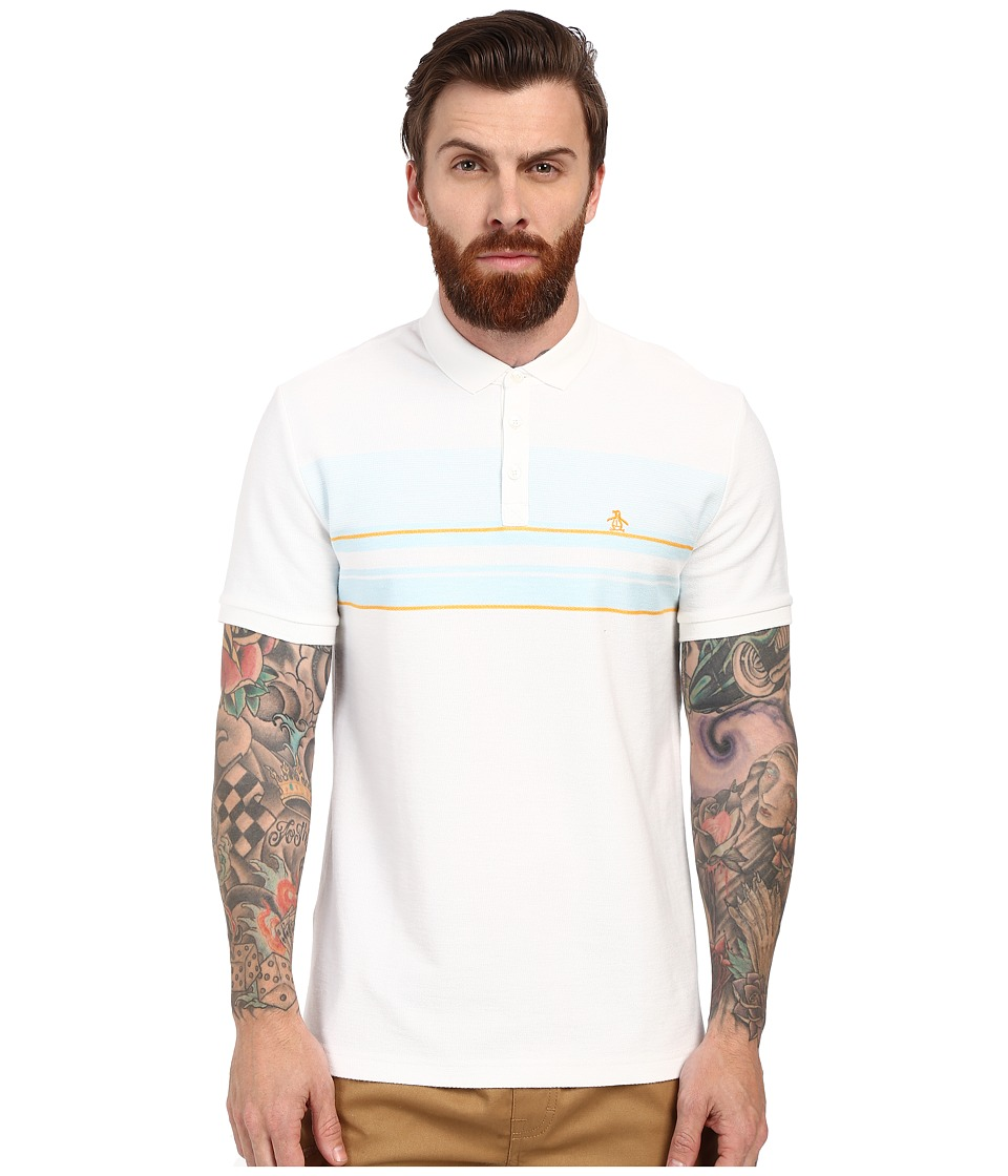 Original Penguin - Short Sleeve Engineered Terry Stripe Polo (Bright White) Men's Short Sleeve Knit