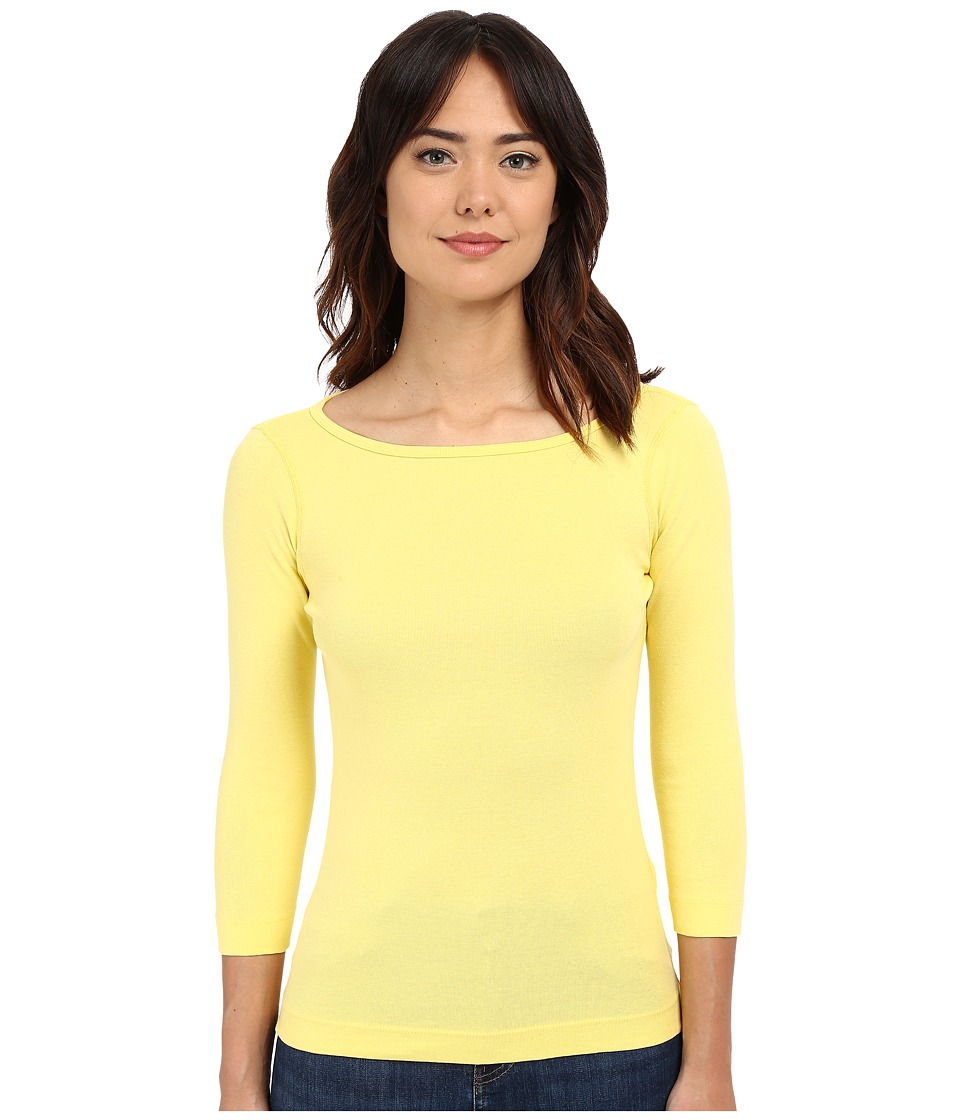 Three Dots - 3/4 Sleeve British Tee (Lemon Peel) Women's Long Sleeve Pullover