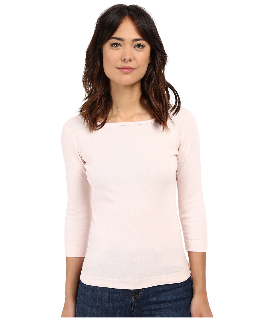 Three Dots - 3/4 Sleeve British Tee (Peach Blush) Women's Long Sleeve Pullover