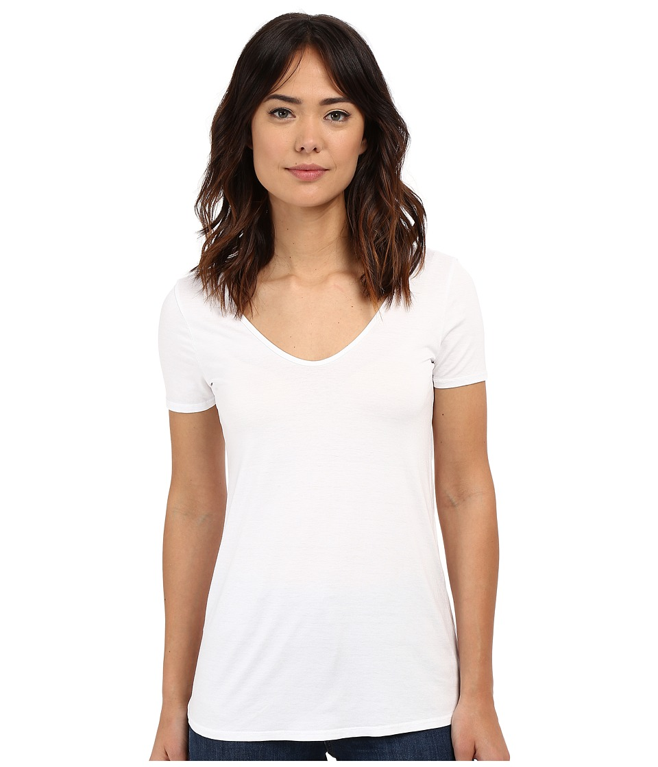 Three Dots Short Sleeve Double V Tee (White) Women