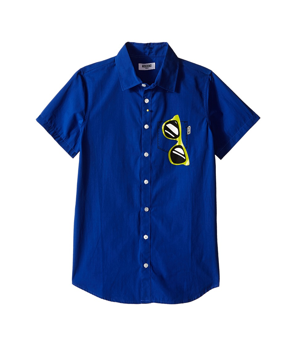 Moschino Kids - Short Sleeve Button Up Shirt w/ Sunglasses Graphic (Big Kids) (Royal Blue) Boy's Short Sleeve Button Up