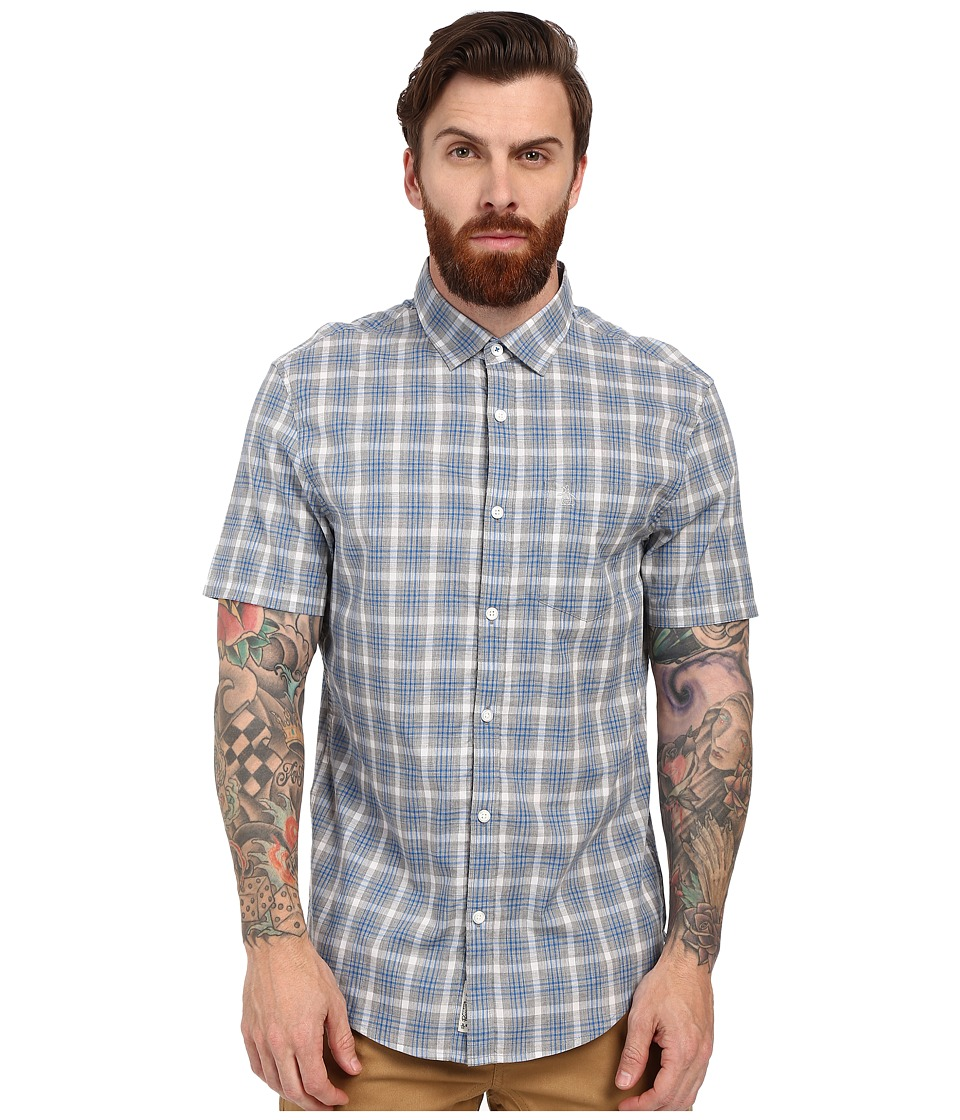 Original Penguin - Short Sleeve Heathered Plaid (High Rise) Men's Short Sleeve Button Up