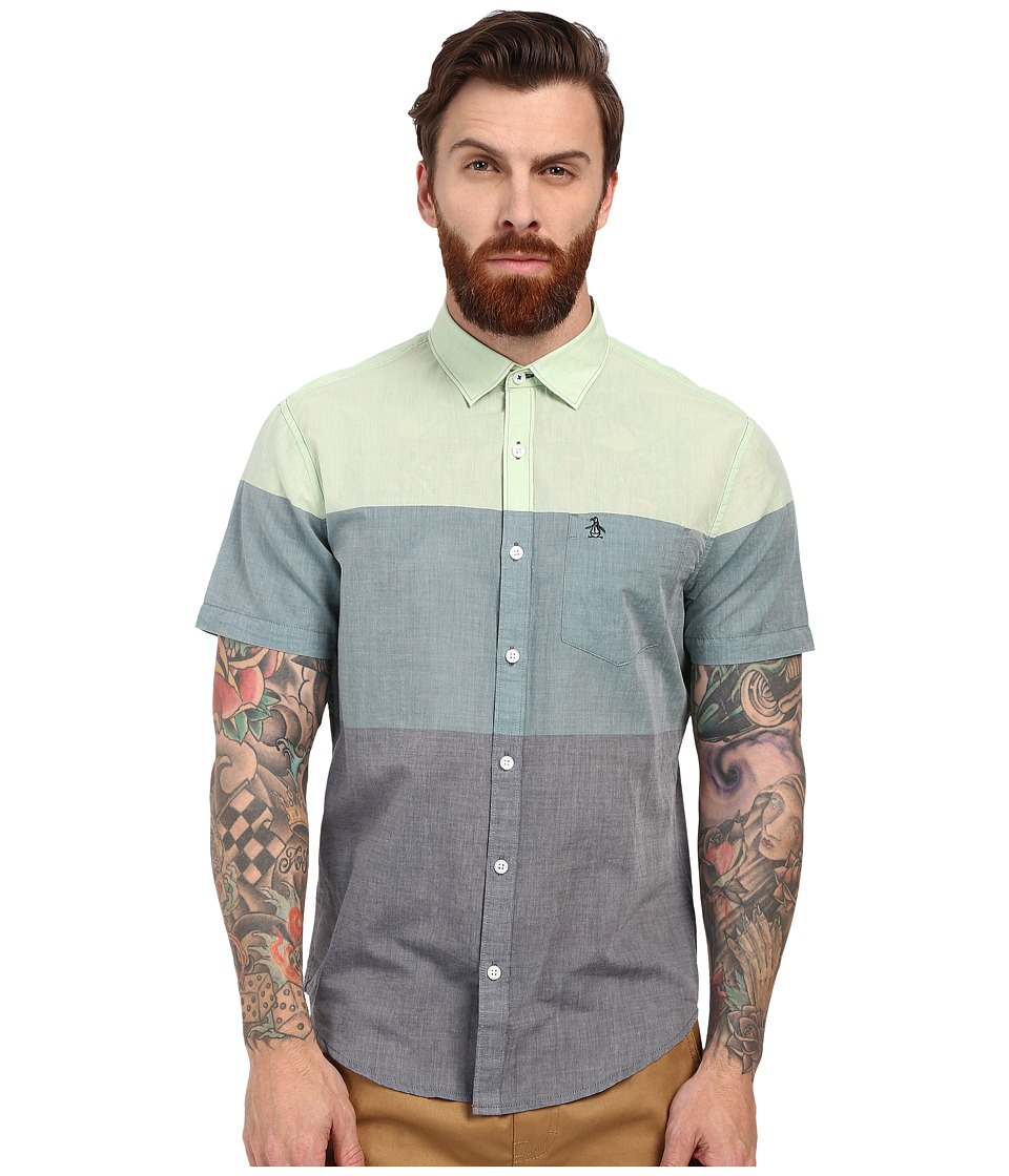 Original Penguin - 3 Color Engineered Stripe Short Sleeve Lawn Woven (Dark Sapphire) Men's Short Sleeve Button Up