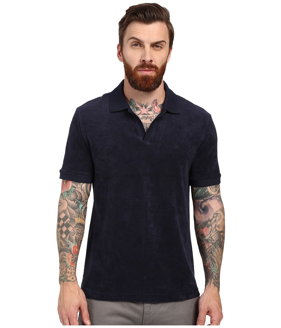 Original Penguin - Open Collar Terry Polo (Dark Sapphire) Men's Short Sleeve Knit