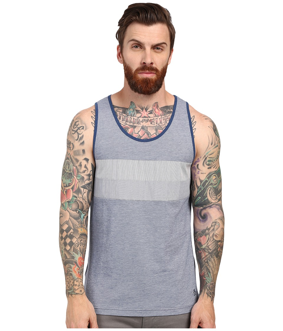 Original Penguin - Birdseye Tank Top with Woven Panel (Dark Denim) Men's Sleeveless