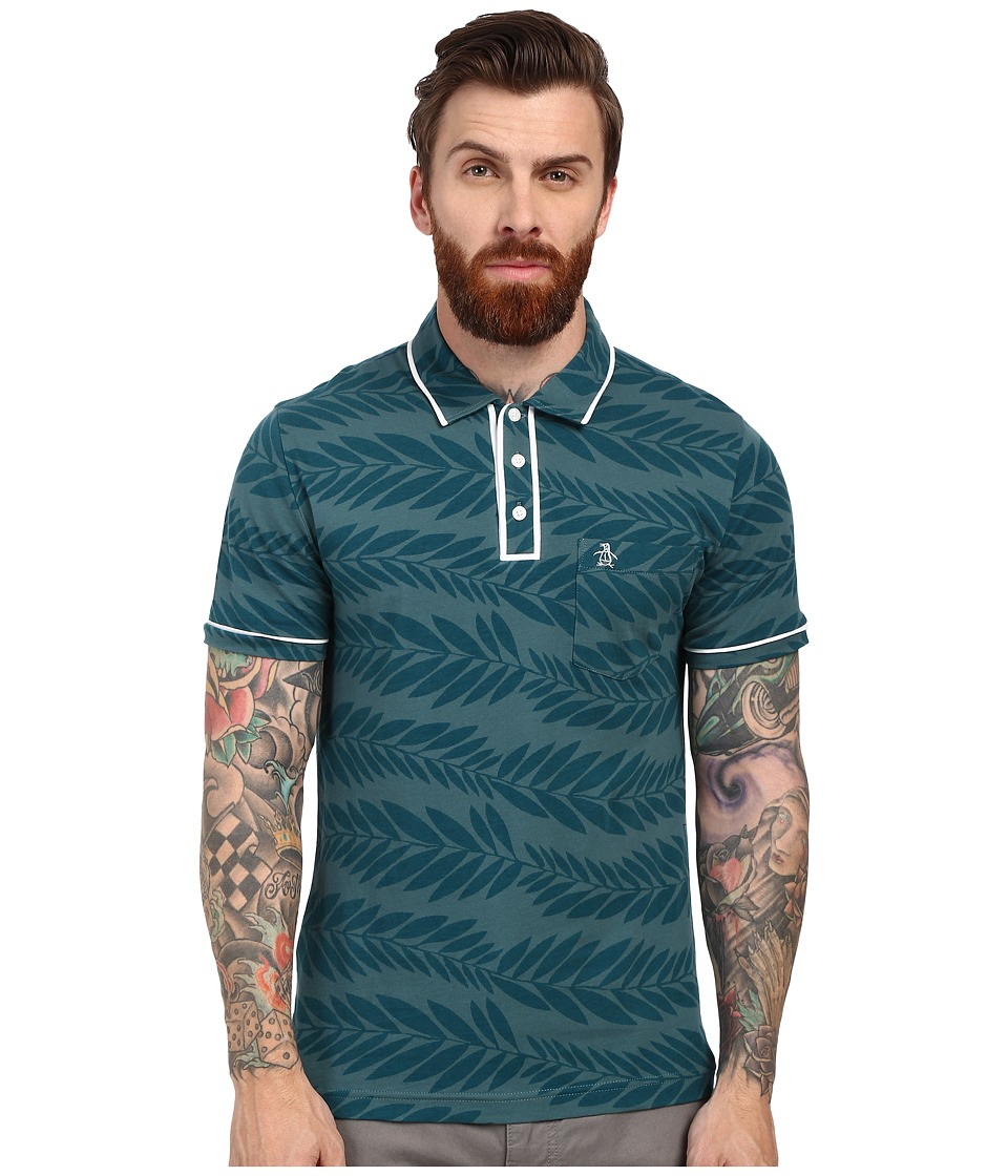 Original Penguin - Leaf Print Earl Polo (Mediterranea) Men's Short Sleeve Pullover