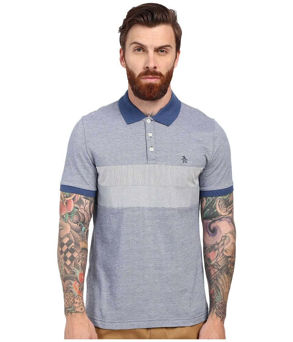 Original Penguin - Pin Stripe Woven Pieced Polo (Dark Denim) Men's Short Sleeve Pullover