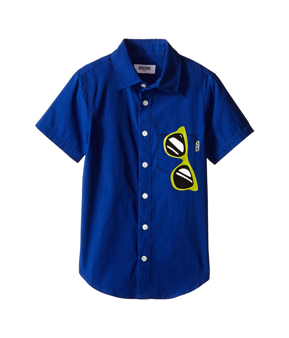 Moschino Kids - Short Sleeve Button Up Shirt w/ Sunglasses Graphic (Little Kids/Big Kids) (Royal Blue) Boy's Short Sleeve Button Up