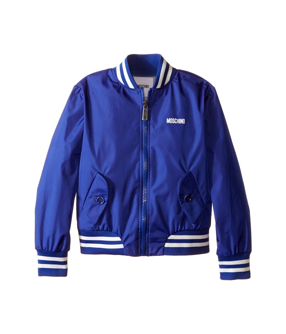 Moschino Kids - Nylon Bomber Jacket (Little Kids/Big Kids) (Royal Blue) Boy's Coat