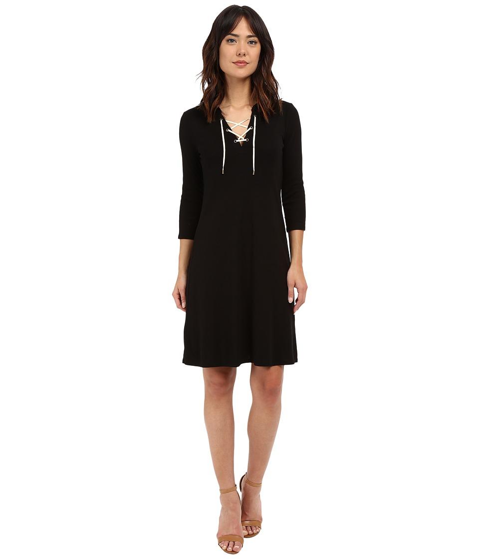 Three Dots - Elna Lace-Up Hi Low Dress (Black) Women's Dress