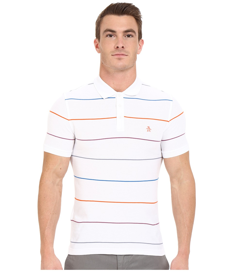 Original Penguin - Short Sleeve Fine Pop Stripe Polo (Bright White) Men's Short Sleeve Pullover