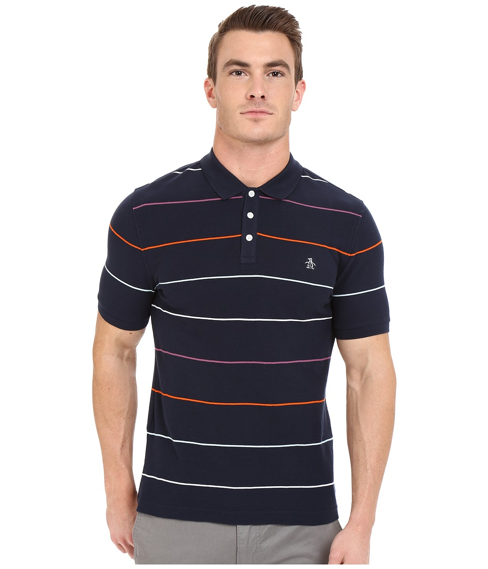 Original Penguin - Short Sleeve Fine Pop Stripe Polo (Dark Sapphire) Men's Short Sleeve Pullover