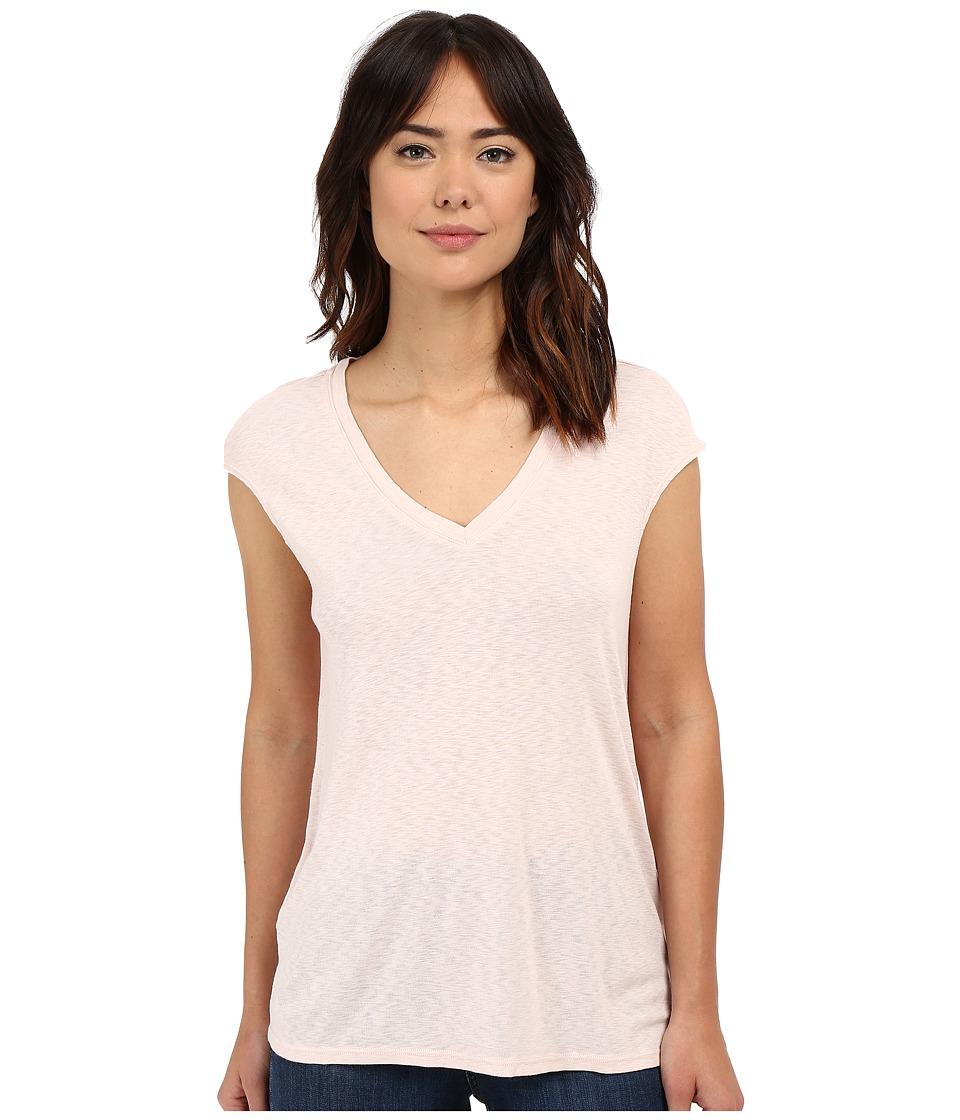Three Dots Hila V-Neck (Peach Blush) Women's Short Sleeve Pullover