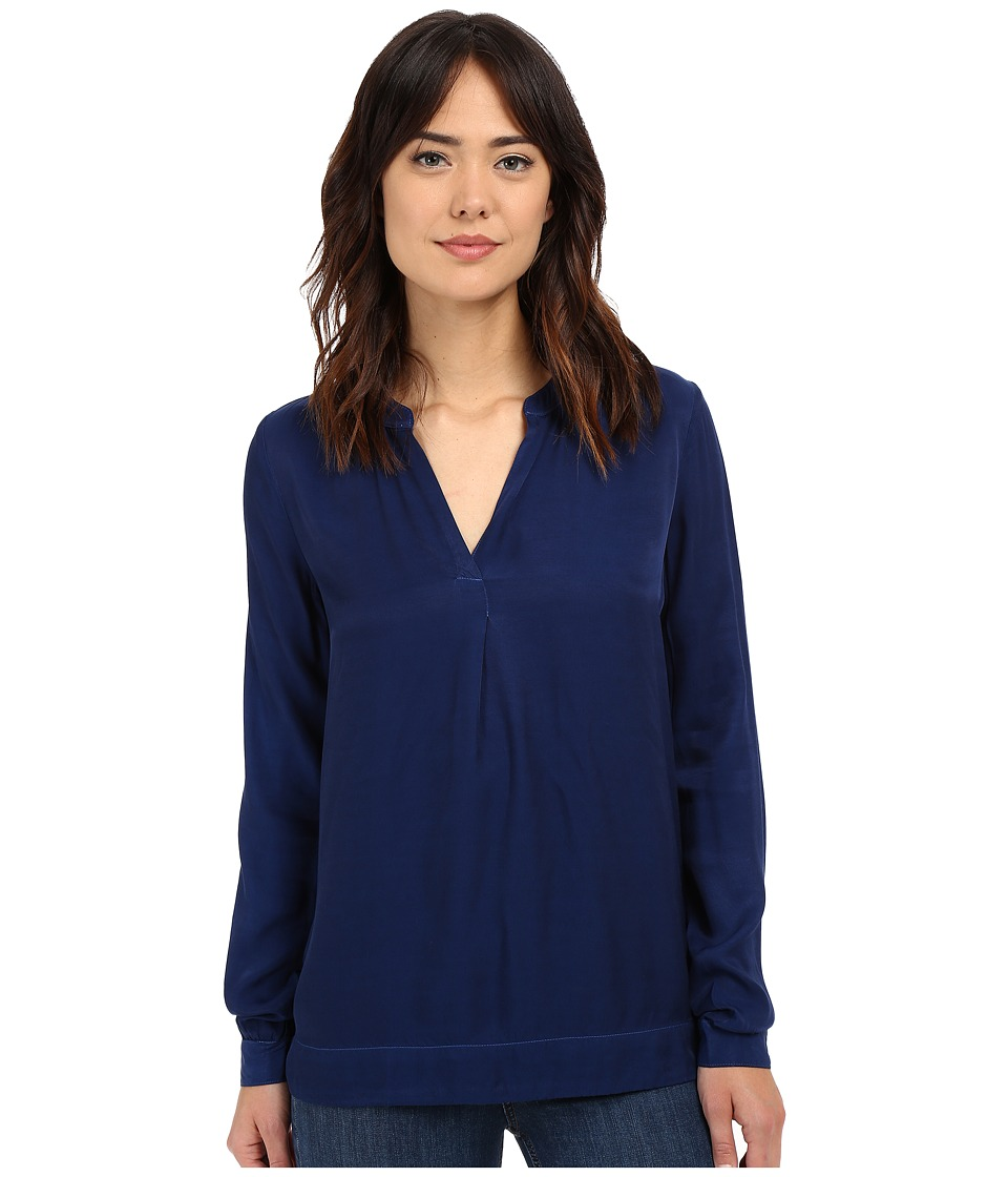 Three Dots - Katharina Long Sleeve Blouse (Blue Depths) Women's Blouse