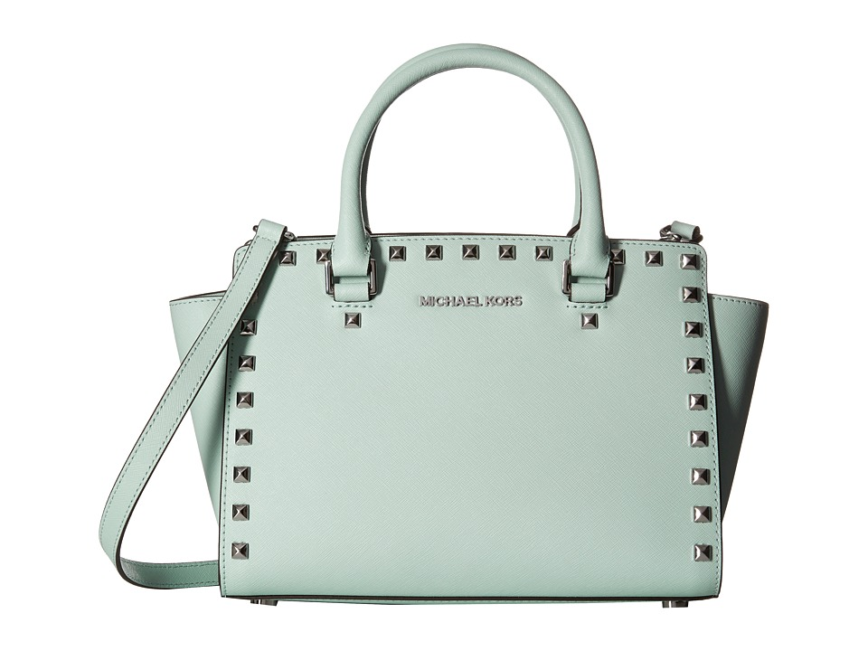 MICHAEL Michael Kors - Selma Stud Medium Top Zip Satchel (Celadon) Satchel Handbags
