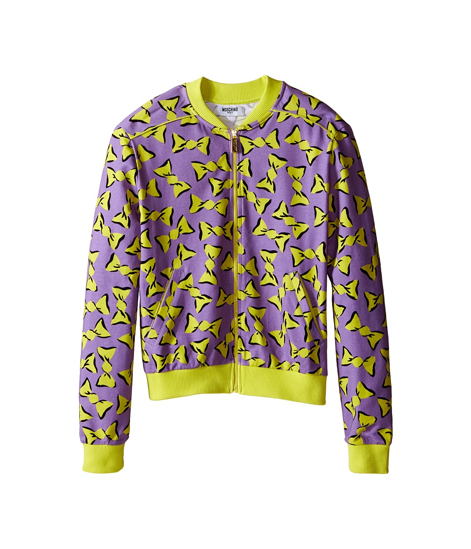 Moschino Kids - Zipped Candy Print Sweatshirt (Big Kids) (Purple) Girl's Sweatshirt