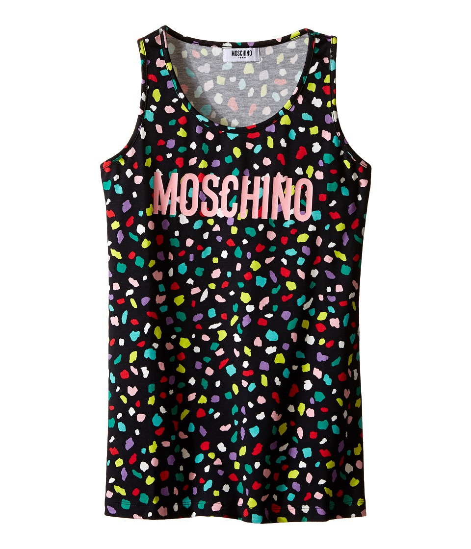 Moschino Kids - Confetti Print Tank Top (Big Kids) (Black) Girl's Sleeveless