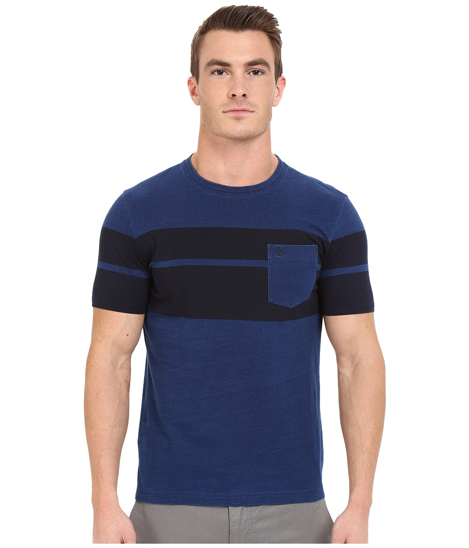 Original Penguin - Short Sleeve Indigo with Printed Twin Stripe Tee (Dark Denim) Men's T Shirt