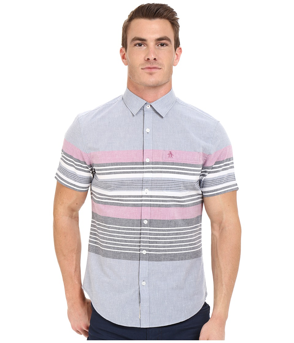 Original Penguin - Short Sleeve Engineered Stripe w/ Neps (Flints Stone) Men's Short Sleeve Button Up