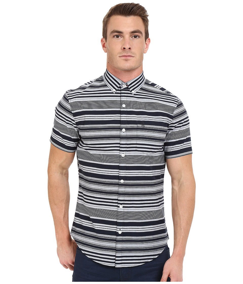 Original Penguin - Short Sleeve Stripe Printed End on End (Dark Sapphire) Men's Short Sleeve Button Up