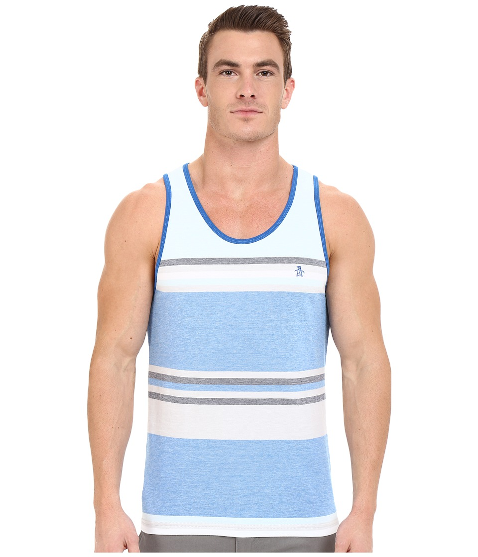 Original Penguin - Birdseye Tank Top with Yarn Dyed Stripe (Directoire Blue) Men's Sleeveless