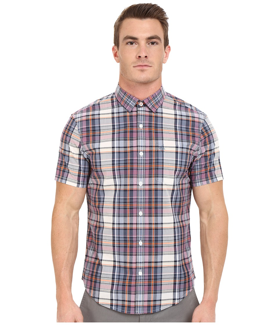 Original Penguin - P55 Short Sleeve Plaid (Dark Sapphire) Men's Short Sleeve Button Up