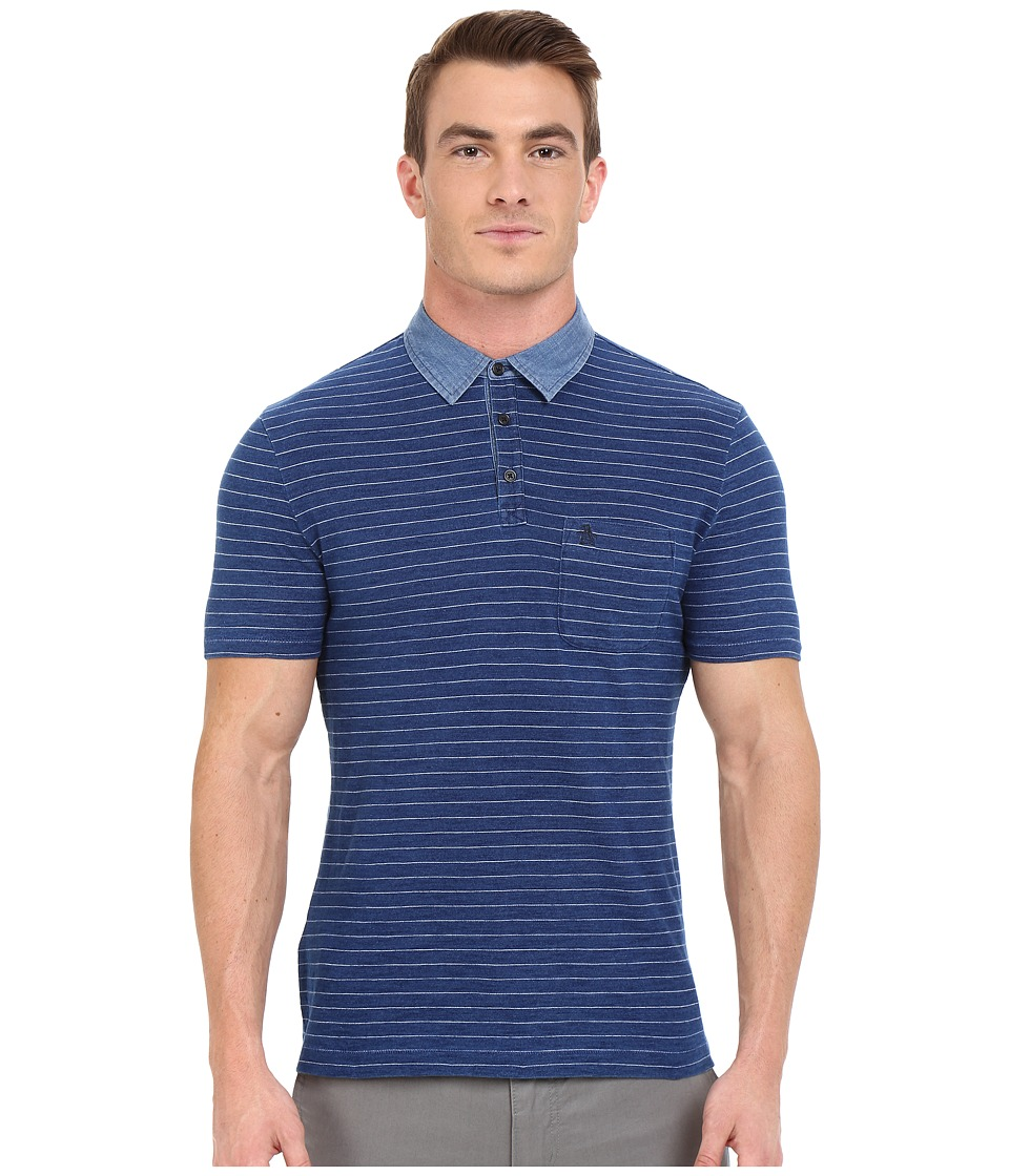 Original Penguin - Short Sleeve Indigo Feeder Stripe Polo (Dark Denim) Men's Short Sleeve Pullover
