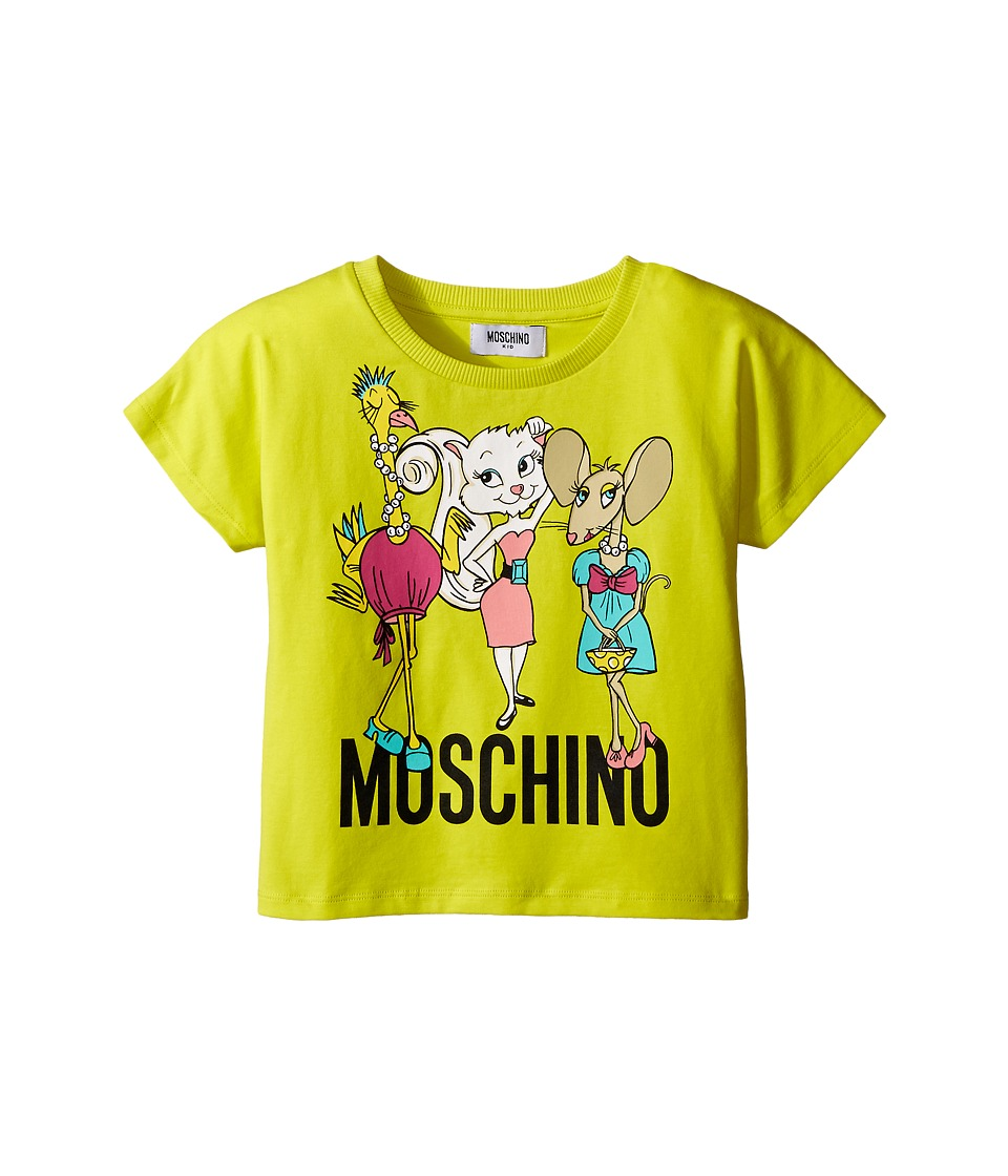 Moschino Kids - Short Sleeve Shirt w/ Graphics (Little Kids/Big Kids) (Lime) Girl's T Shirt