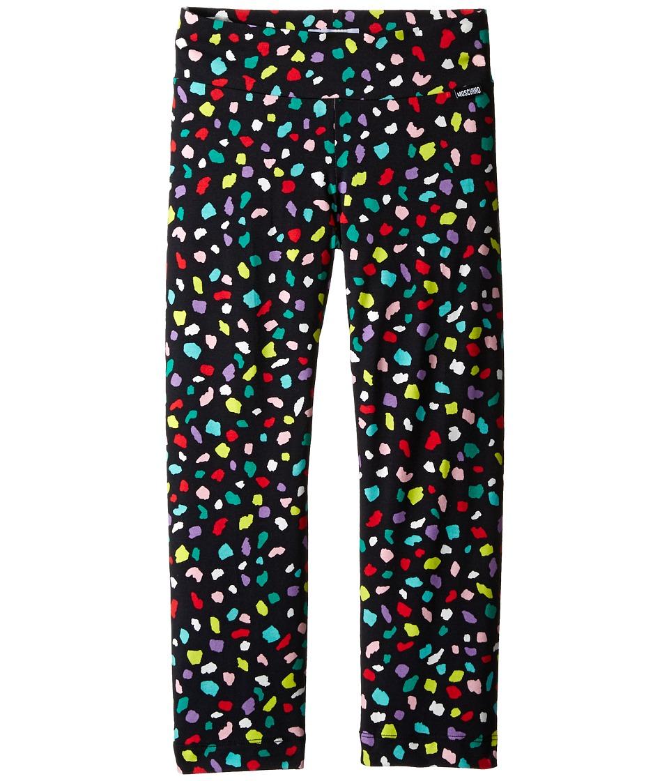 Moschino Kids - Confetti Print Leggings (Big Kids) (Black) Girl's Casual Pants