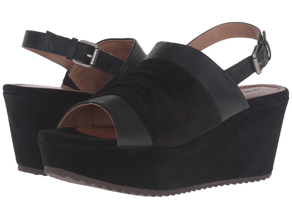 Trask - Shari (Black Italian Suede/Black Italian Washed Sheepskin) Women's Wedge Shoes