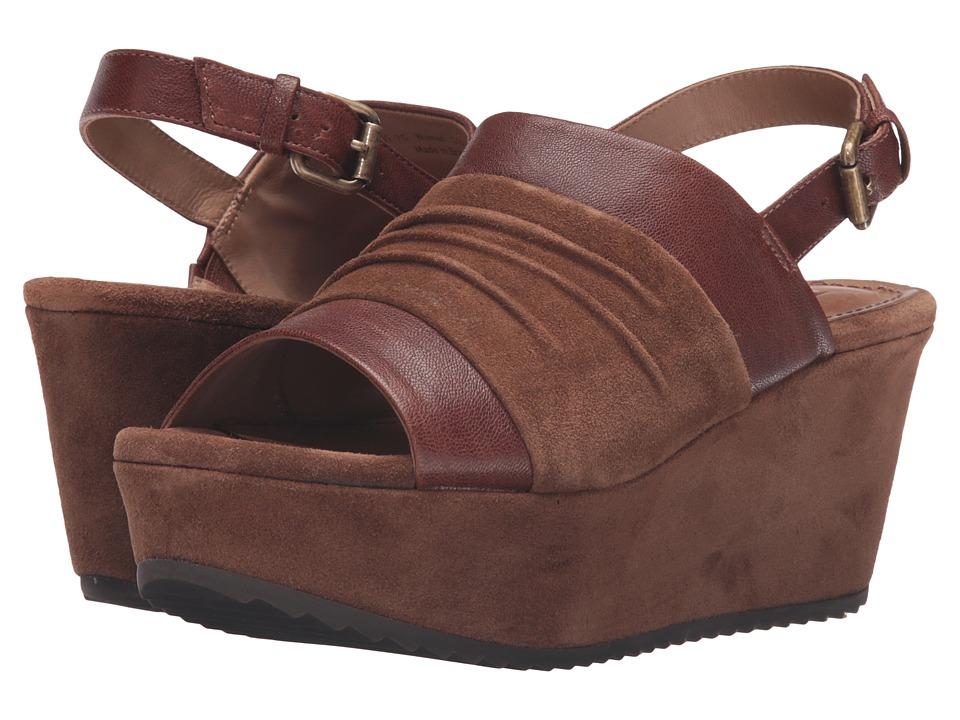 Trask - Shari (Teak Italian Suede/Teak Italian Washed Sheepskin) Women's Wedge Shoes