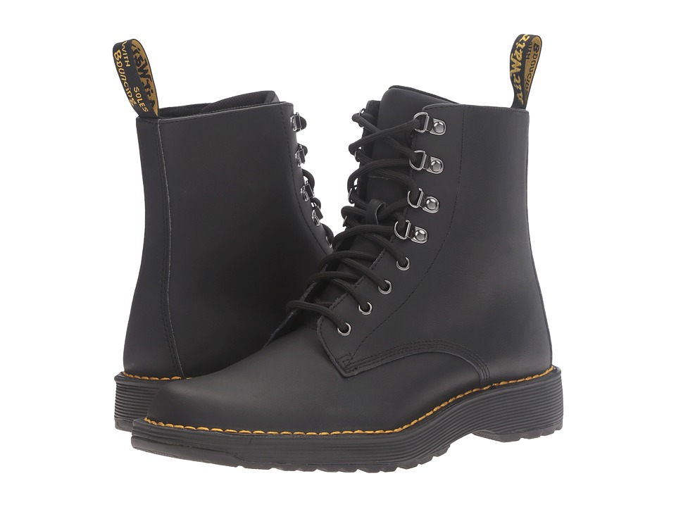 Dr. Martens - Lawton 8-Eye Boot (Black Peidmont Split) Lace-up Boots