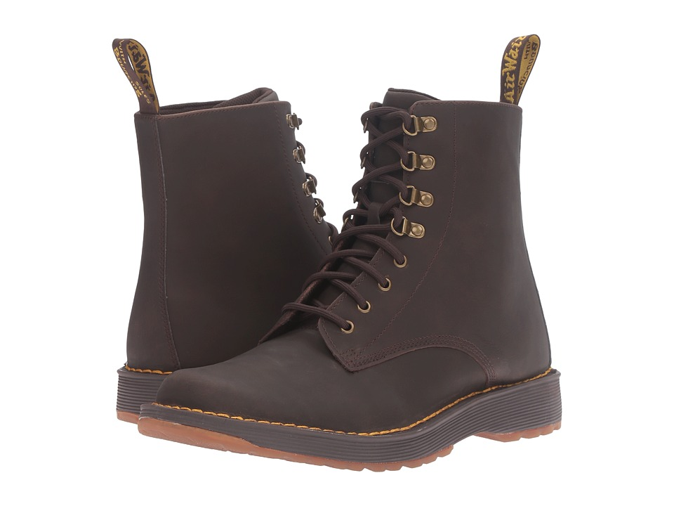 Dr. Martens - Lawton 8-Eye Boot (Dark Brown Peidmont Split) Lace-up Boots