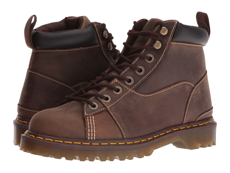 Dr. Martens - Alderton Padded Collar Ankle Boot (Brown Kingdom/Black PU) Lace-up Boots