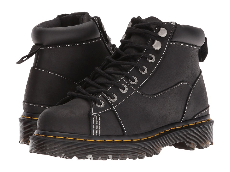 Dr. Martens - Alderton Padded Collar Ankle Boot (Black Kingdom/PU) Lace-up Boots