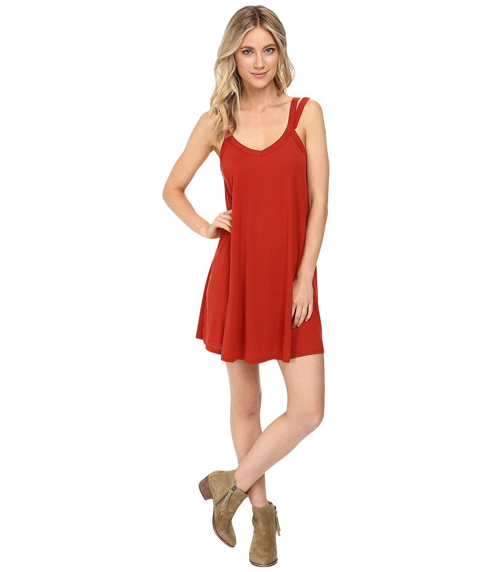 RVCA Like It V-Neck Dress (Red Rust) Women